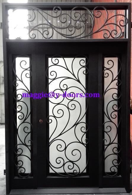 hierro forjado doble puerta de entrada de acero con espejo de popa y luz lateral delantera