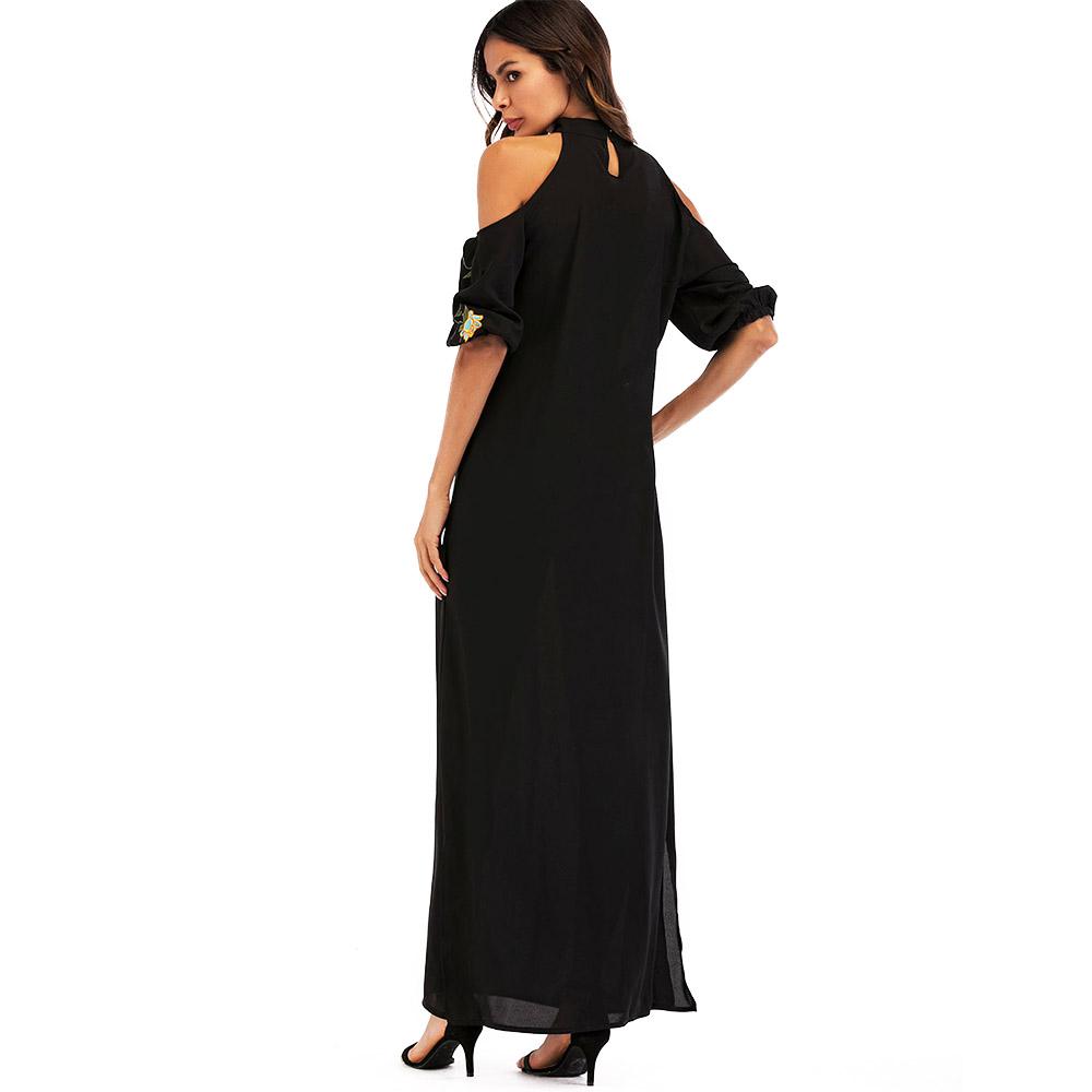 ea06badeb96f7 Zakiyyah 7015 Yeni Model Zarif Şık Omuz Dubai Maxi Elbise Çiçek Baskı  Tasarımı ile Bölünmüş Rahat