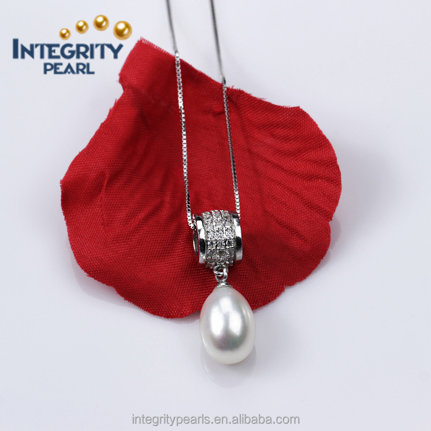 Wholesale Natural freshwater peral pendant White 9-10mm AAA teardrop Pearl Pendant