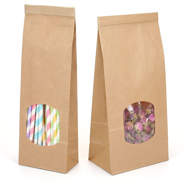 Stand Up Kraft Paper Bag With Clear Window Coffee Bags Food Packaging