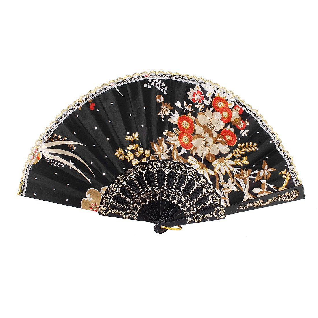 uxcell Blossom Printed Lady Summer Folding Hand Fan Khaki Red Black