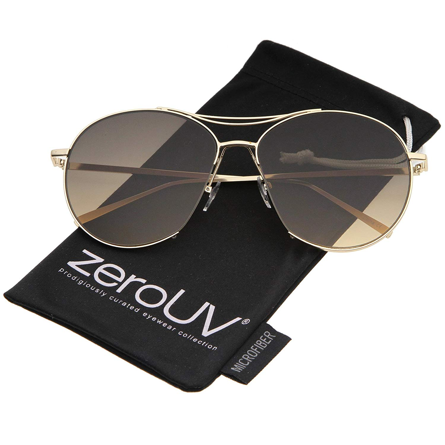 b2b08aaae Get Quotations · zeroUV - Oversized Metal Frame Brow Bar Semi-Rimless  Gradient Flat Lens Aviator Sunglasses 60mm