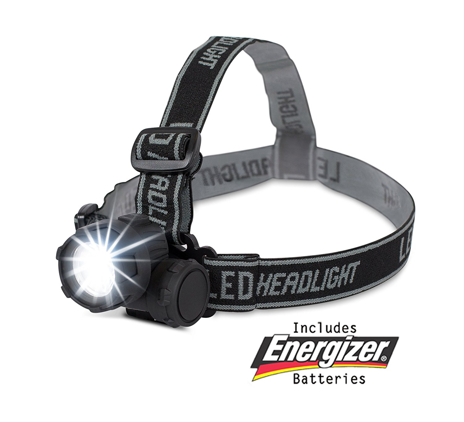 Internet's Best LED Headlight | 2 Modes Headlamp | Lightweight | Battery Powered Helmet Light for Hiking Camping Running Reading | 3 AAA Batteries Included