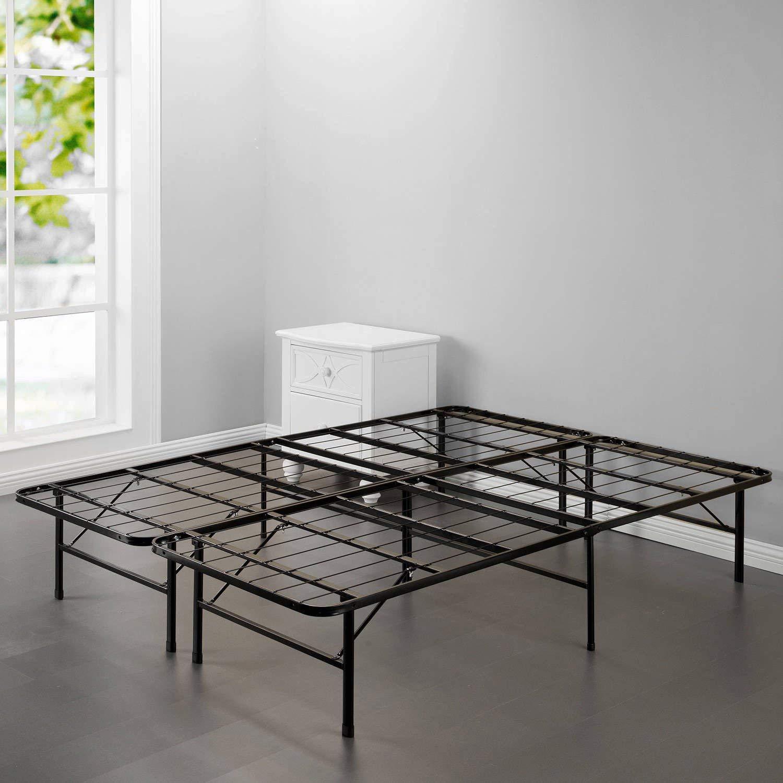 "OHO New Modern Bi-Fold Folding Platform Metal Full Bed Frame 74""x 53""x14"" inches Mattress Foundation BF"