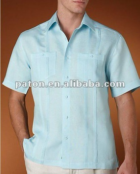 fb58f8004 Los Hombres De Diseño Azul Guayabera Lino Camisas - Buy Camisa ...