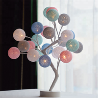 Colorful Cotton ball Tree Table Lamp 3AA Battery And USB Powered Desk Night Light Wedding Bedroom decoration