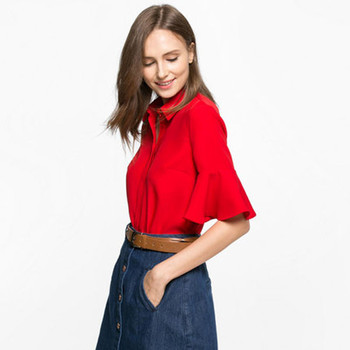 Bright red color women s shirt tops wholesale high quality ladies office  wear shirts 34bbbc3213c2