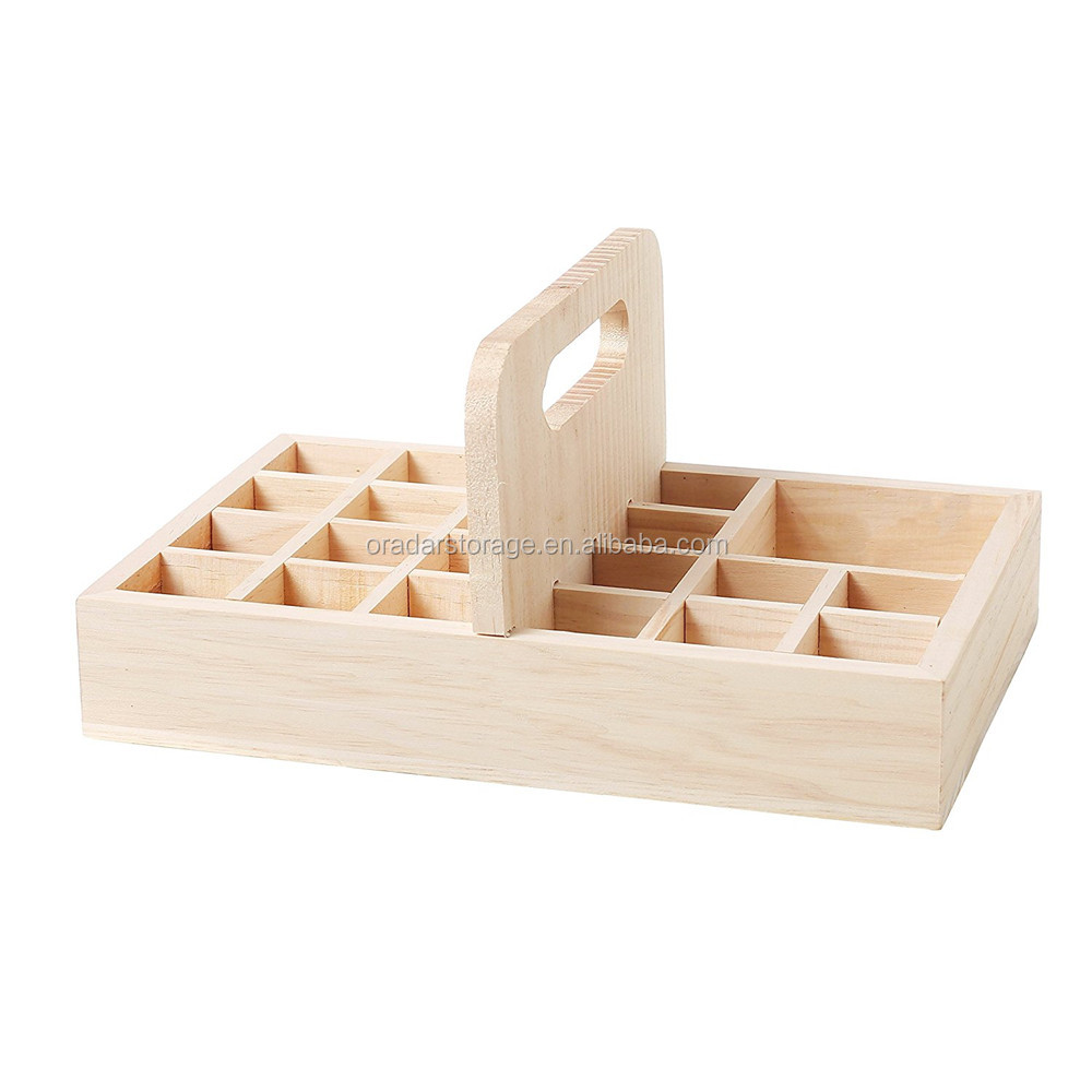 20 Bottle Essential Oil Wood Storage Box With Carrying Handle