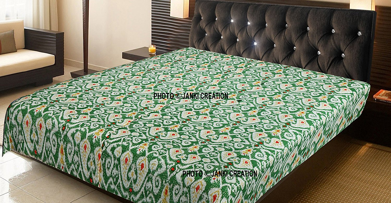 Kantha Quilt Black Ikat Indian Cotton Handmade Bedspread Queen Size Gudari Decorative Quilts & Bedspreads