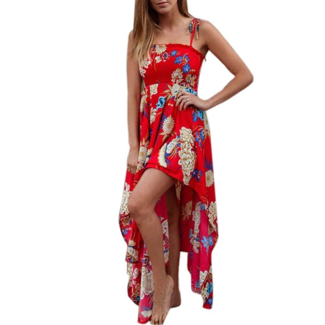 93ec95945908b Get Quotations · Women Strappy Stretch Chest Dress Irregular Hem Split Long  Dress Sleeveless Hawaii Beach Floral Sexy Dress