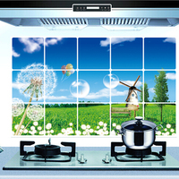 Waterproof removable 3d kitchen wall tile stickers