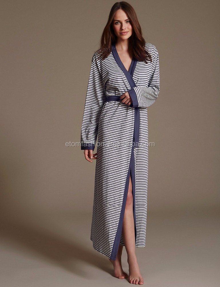 Funky Dressing Gowns Ladies Winter Robe Striped Long Cotton Robe ...