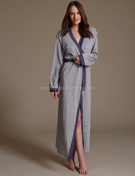 funky dressing gowns Ladies winter robe Striped Long cotton robe j0706 08c707d746