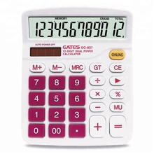 Factory wholesale Dual Power big touch button 12 digit LCD display office calculator