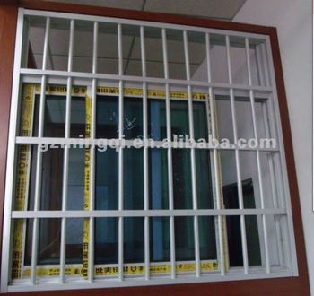 Pvc sliding window with grills anti theft design for Window design in philippines