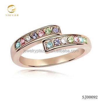 2017 value latest rose gold ring designs for girls Muliti diamond