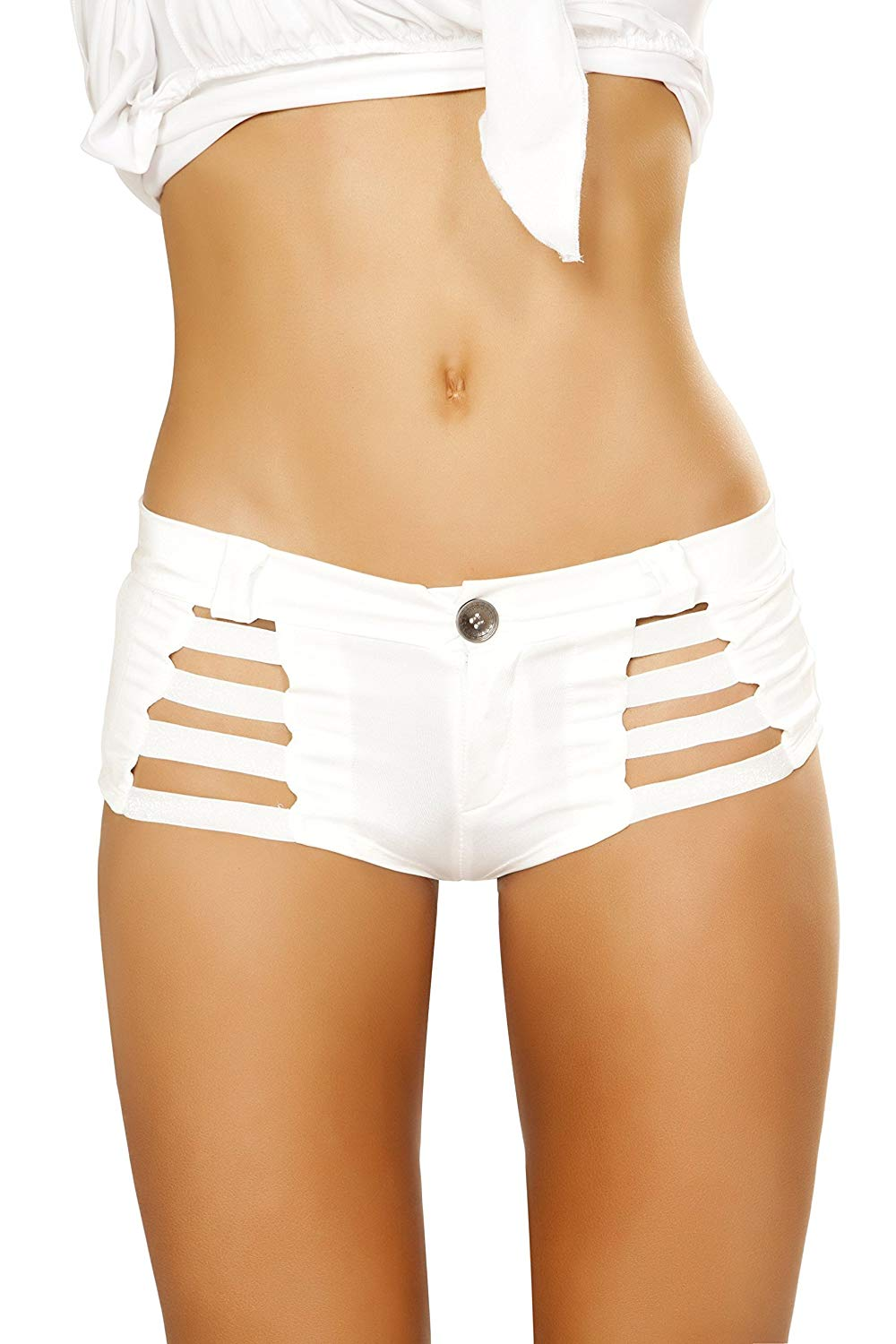 986e380760c Get Quotations · USA Clothing White Shorts with Shiny Straps and Button  Front Detail