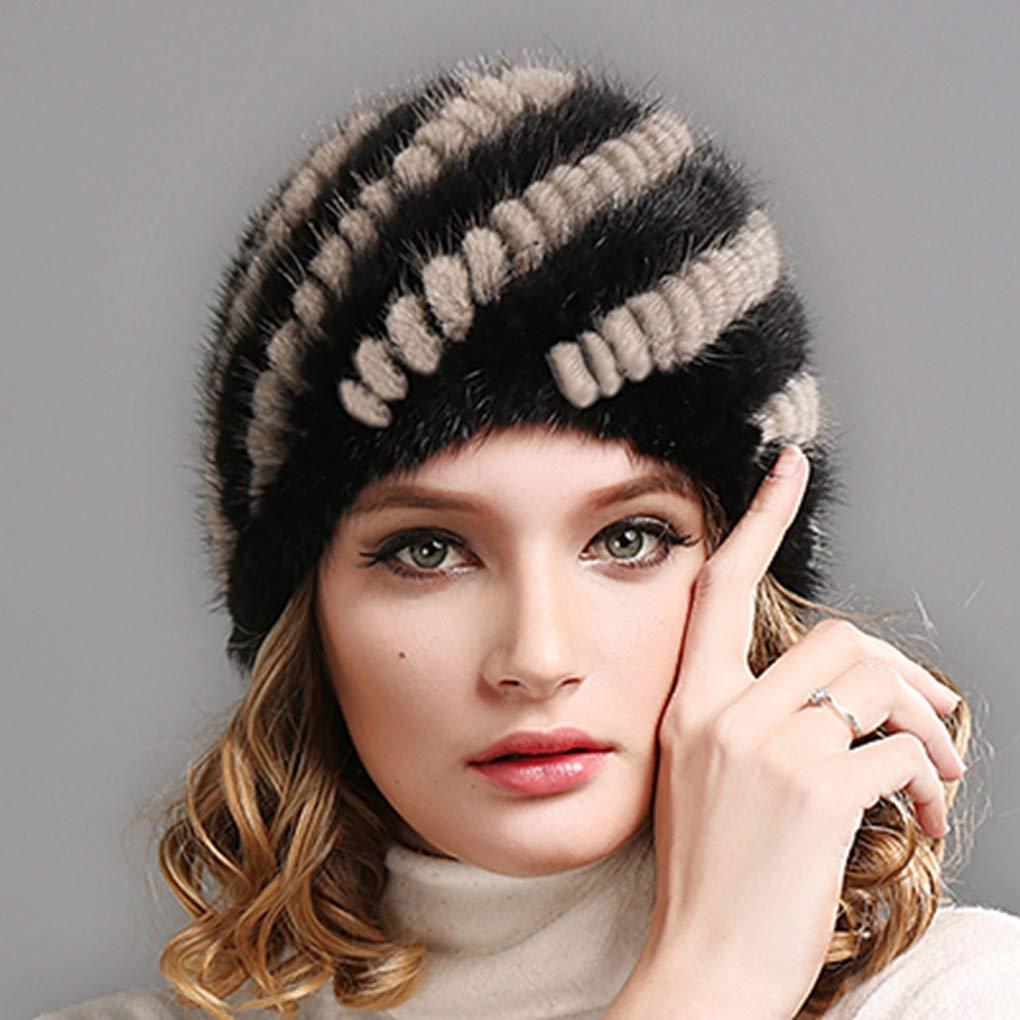 52f08686fcb Get Quotations · RXIN Winter Women Hats Caps Luxury Knit Mink Fur Hat  Winter Russian Women Natural Fur Cap