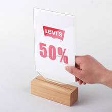 A6 100*198*48mm acryl <span class=keywords><strong>menu</strong></span> sign stand met houten base