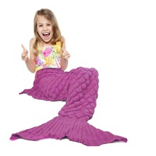 Tail blanket Handmade Yarn Knitted Crochet Mermaid Blanket Children Throw Bed Wrap Super Soft Warm Sleeping Bag 140cm*70cm