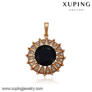 32887 Customize fashion new trend gold round pendant jewelry insert big fake gemstone pendant