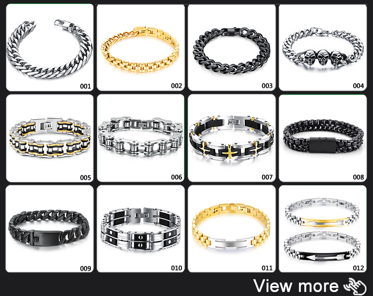 New Design Creative Stainless Steel Silver Mens Chain Vintage Bracelet