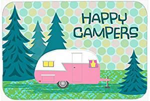 "Caroline's Treasures VHA3004CMT ""Happy Campers Glamping Trailer"" Kitchen or Bath Mat, 20"" H x 30"" W, Multicolor"