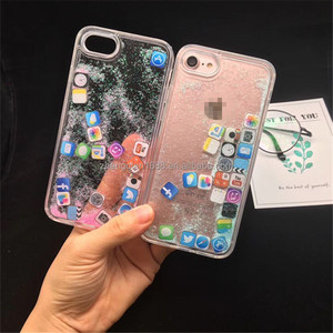 Newest Creative Design Flotage Liquid glitter Quicksand Phone Case for iphone X 6 7 8 Plus with iphone APP icon floating cover
