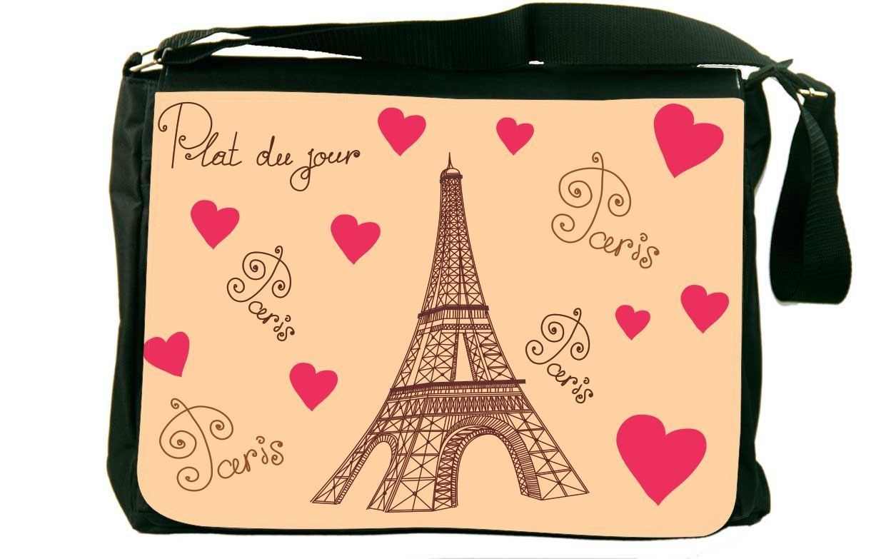 Get Quotations � Rikki Knight Paris Postcard Eiffel Tower Messenger Bag