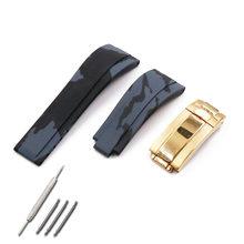 Для Мужчин's каучуковый ремешок часы аксессуары Пряжка для Rolex Ditong взять вода призрак силиконовый ремешок 20 мм водонепроницаемые часы-брасл...(Китай)