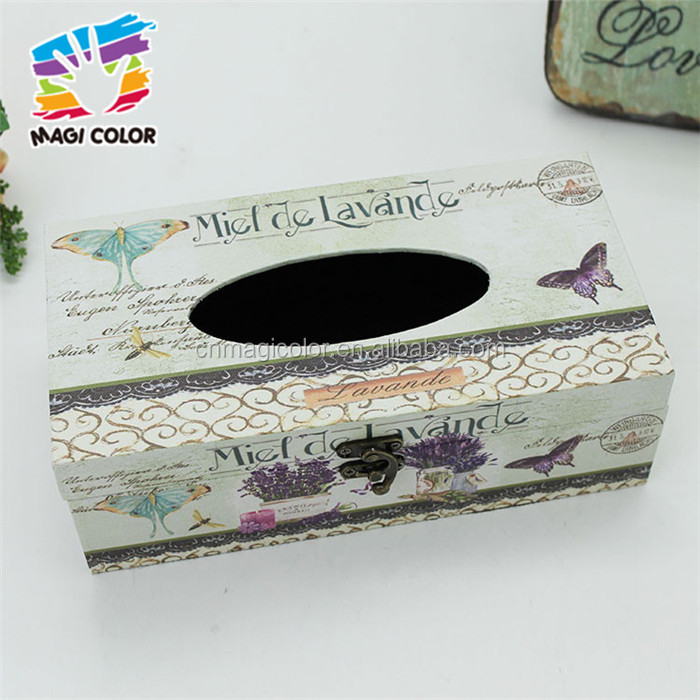 Wholesale home white wooden tissue box cover high quality wooden tissue box cover W18A007