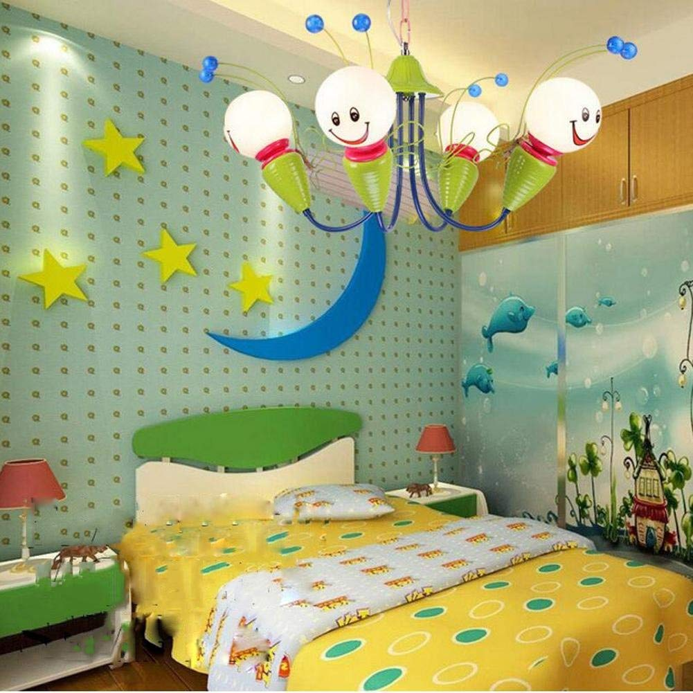 Wei-d The New Simple Warm Children's Room Lights LED Bedroom Cartoon Lights Cute Little Bee Children Pendant Light , as picture , 65cm