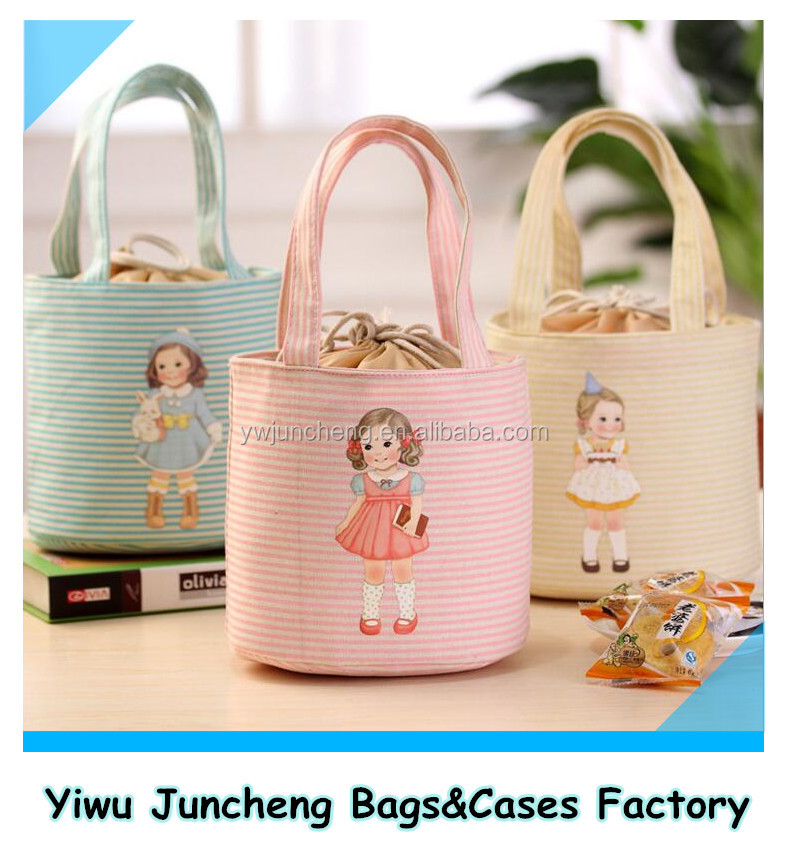 2016 Wholesale Stock Cheap Cute Girl Printing Lunch Bento Thermal Lining Bag Cylinder Shape