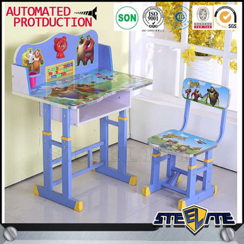 Cartoon Picture Kids Desk Chair Kids Writing Table Study Table For Kid