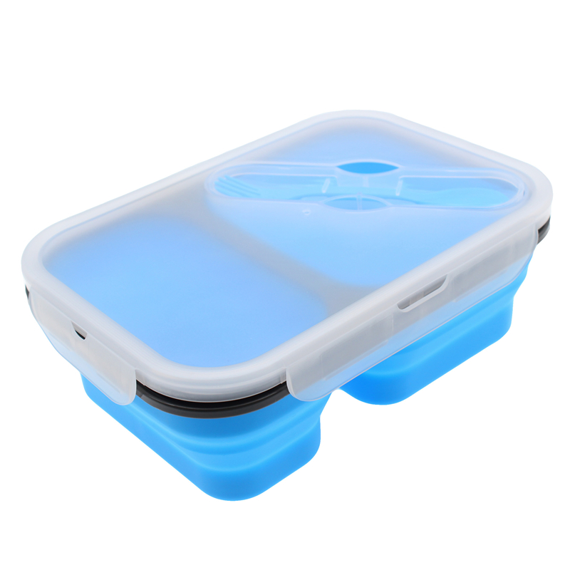 Hot selling FDA food grade inklapbare voedsel container 2 compartiment siliconen opvouwbare lunchbox