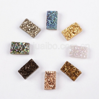 Mulit Shaped Titanium Natural Agate Druzy Cabochons Beads Drilled ...