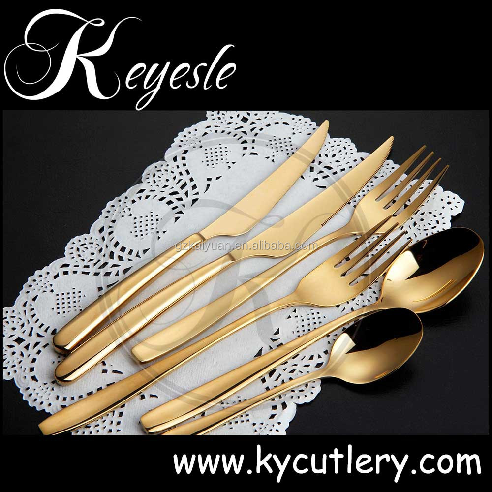 Luxury Gold Plated Stainless Steel Spoon And Fork Cutlery Sets Wedding Gift