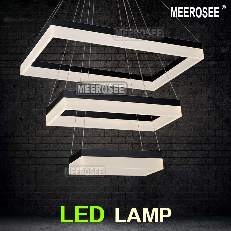 Acrylic Led Pendant Light Modern Rectangle Design Black Suspension Fixture Gold Dining Room Lamp Md5062