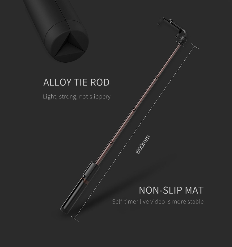 Recci Alpha series foldable light weight Aluminum alloy wireless remote Tripod Selfie Stick with Adjustable holder
