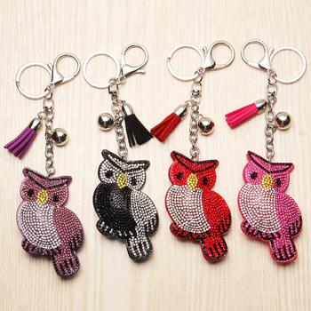 Cute Owl KeyChain Full Crystal Leather Tassel Key Ring Silver Color Women  Bag Phone Pendant Car fa285c9cc
