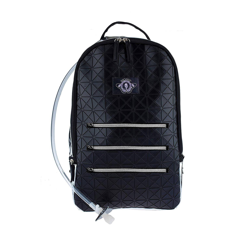 c04a2ec7d775 Get Quotations · Dan-Pak Large Hydration Backpack 2l- Black Tar -Black  Rubber Faux Leather Geometric
