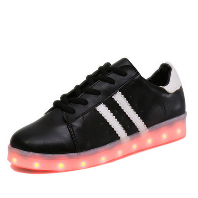 New Led Sneakers Black Led Shoes For Adult  Black Womens Light Up Sneakers Mens Glowing Sneakers White Led Luminous Shoes