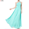 One-shoulder green long formal chiffon bridesmaid evening gowns dresses under 100