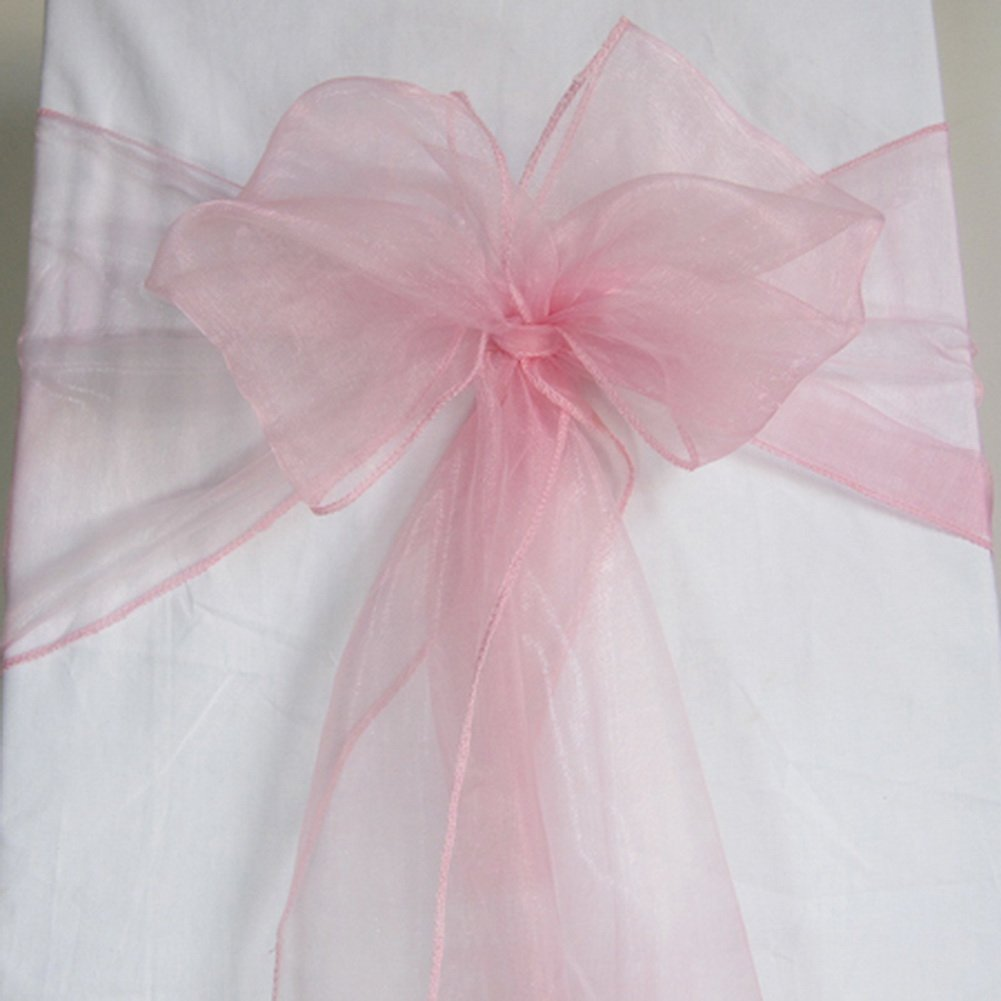 AerWo Organza Chair Sashes (7 x 108 Inch / 18 x 275 cm) Wedding Party Decor Bow Banquet Supply (Light Pink, 10Pcs)