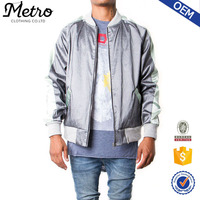 Quilted Plain 100% Polyester Satin Contrast Mens Bomber Jacket