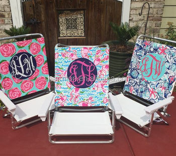 Beau Lilly Pulitzer Inspired Monogram Beach Chair