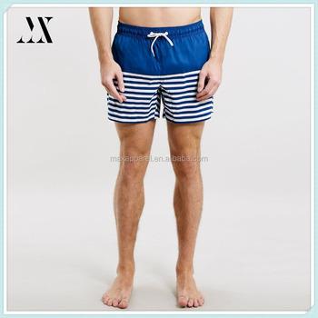 21101773cb Wholesale custom polyester blue/ white stripe swim shorts fashion beach  short man board shorts