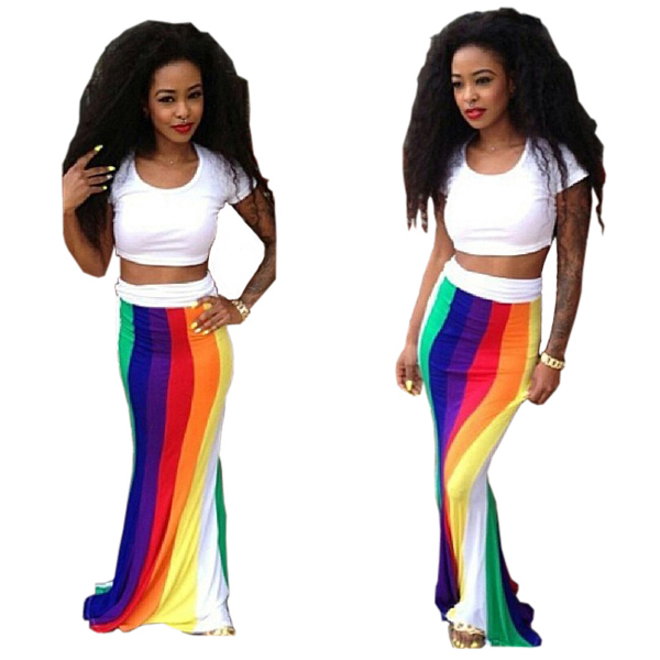 e38a7aa680b2 Get Quotations · S-XL Colorful striped women two piece outfits summer long  maxi dress 2015 fashion sexy