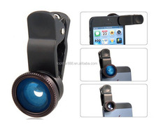 Universal 3 in 1 Fish eye + Wide Angle + Macro clip Lens for iPhone iPad for Samsung smartphone