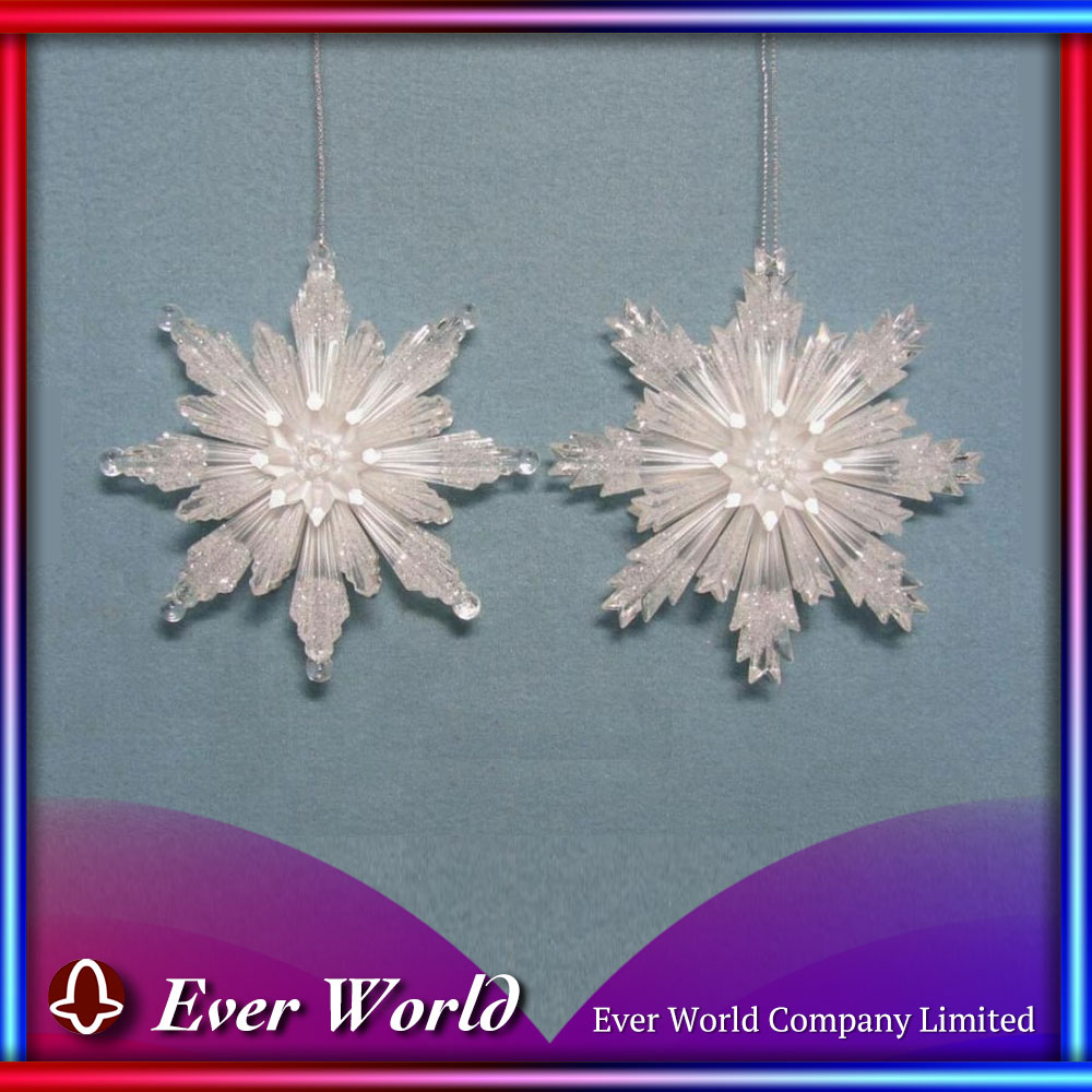 Budget Plastic Clear/ Pearl White 3-D Snowflake Ornament for Home Decoration, Wholesale Christmas Ornament Supplier